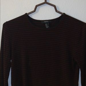 Black & burgundy Striped top